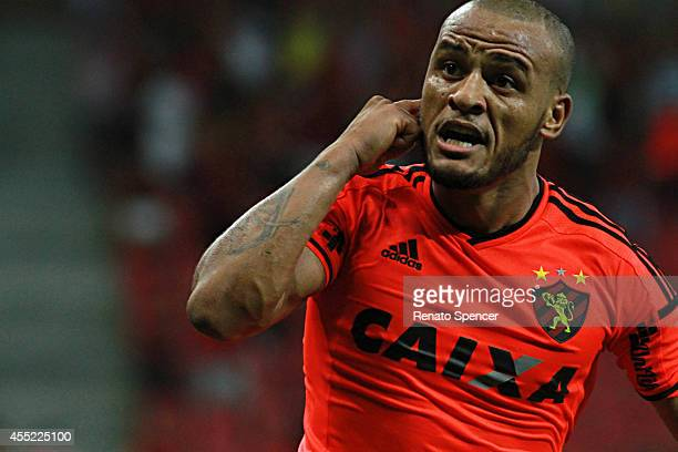 Patric of Sport Recife celebrates his goal during the Brasileirao Series A 2014 match between Sport Recife and Santos at Arena Pernambuco on...