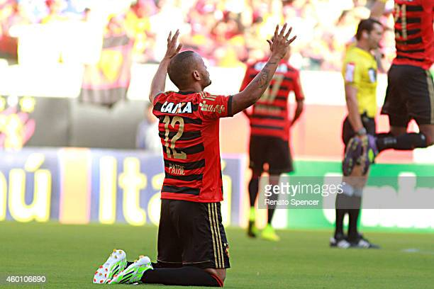 Patric of Sport Recife enter into the field before a match between Sport Recife and Sao Paulo as part of Brasileirao Series A 2014 at Arena...