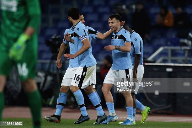 Patric with his teammates of SS Lazio celebrates after scoring the opening goal during the Coppa Italia match between SS Lazio and US Cremonese at...