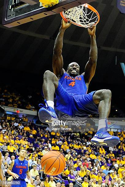 Patric Young of the Florida Gators scores against the LSU Tigers during a game at the Pete Maravich Assembly Center on January 12 2013 in Baton Rouge...