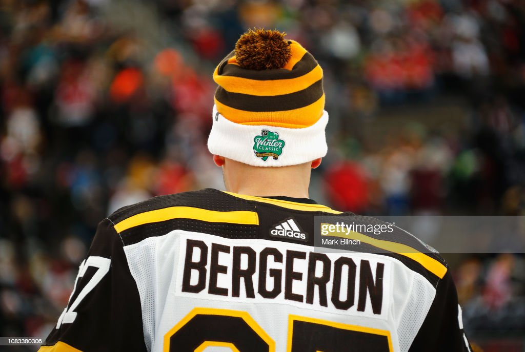 half off da373 0a9dc Patrice Bergeron of the Boston Bruins attends warm ups ...