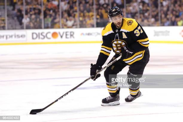 Patrice Bergeron of the Boston Bruins skates against the Tampa Bay Lightning during the first period Game Three of the Eastern Conference Second...