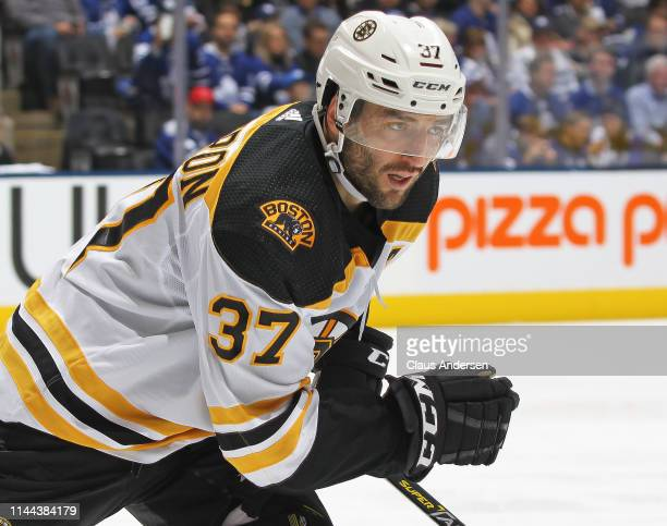Patrice Bergeron of the Boston Bruins skates against the Toronto Maple Leafs in Game Six of the Eastern Conference First Round during the 2019 NHL...