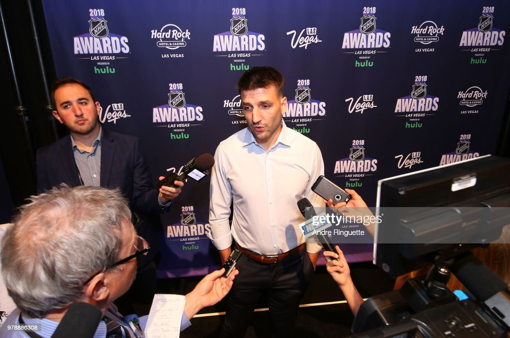 Patrice Bergeron of the Boston Bruins speaks during media availability at the Hard Rock Hotel & Casino on June 19, 2018 in Las Vegas, Nevada.