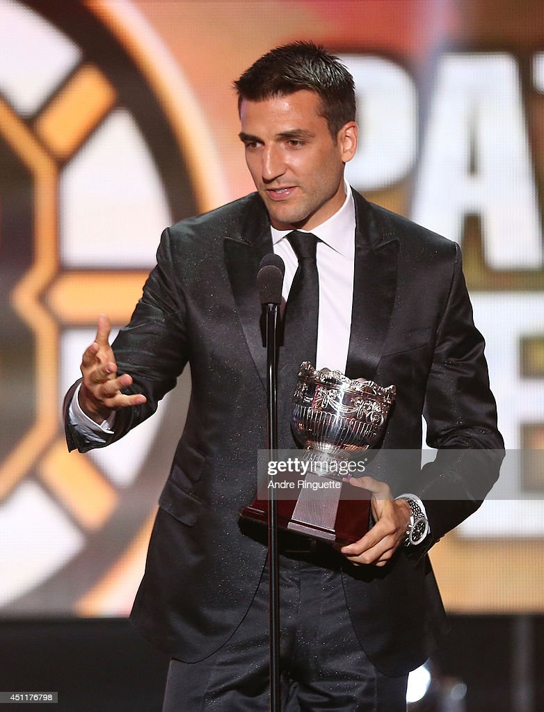 Patrice Bergeron of the Boston Bruins speaks onstage after winning the Frank J. Selke Trophy during the 2014 NHL Awards at the Encore Theater at Wynn Las Vegas on June 24, 2014 in Las Vegas, Nevada.