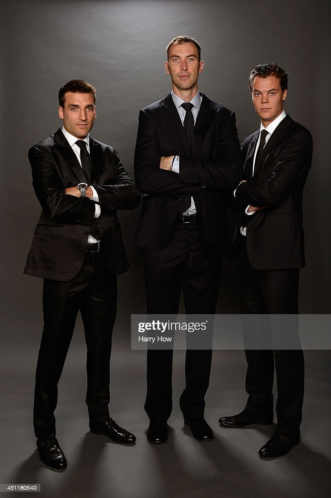 Patrice Bergeron, Zdeno Chara, and Tuukka Rask of the Boston Bruins pose for a portrait during the 2014 NHL Awards at Encore Las Vegas on June 24, 2014 in Las Vegas, Nevada.