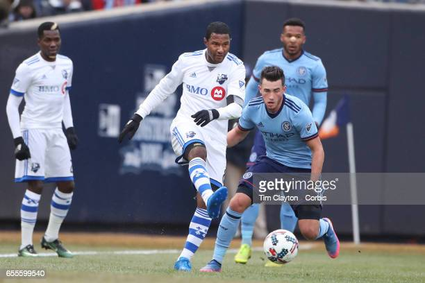 Patrice Bernier of Montreal Impact in action during the New York City FC Vs Montreal Impact regular season MLS game at Yankee Stadium on March 18...
