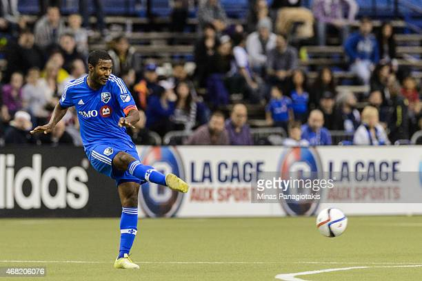 Patrice Bernier of the Montreal Impact kicks the ball during the MLS game against the Orlando City SC at the Olympic Stadium on March 28 2015 in...