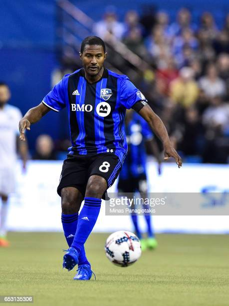 Patrice Bernier of the Montreal Impact plays the ball during the MLS game against the Seattle Sounders FC at Olympic Stadium on March 11 2017 in...