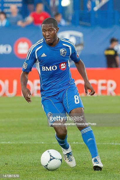 Patrice Bernier of the Montreal Impact runs the ball during the MLS match against the Houston Dynamo at Saputo Stadium on June 23 2012 in Montreal...