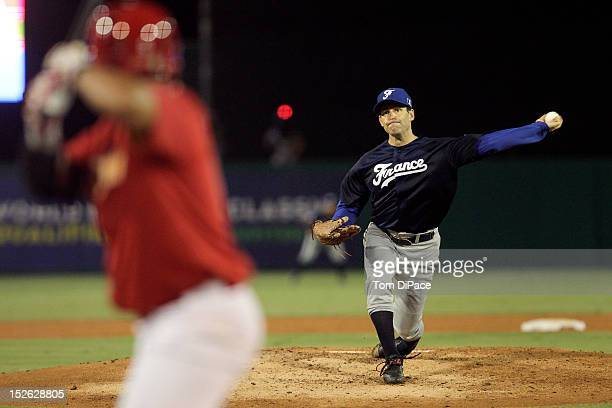 Patrice Birones of Team France pitches against Team Spain during game 2 of the Qualifying Round of the 2013 World Baseball Classic at Roger Dean...