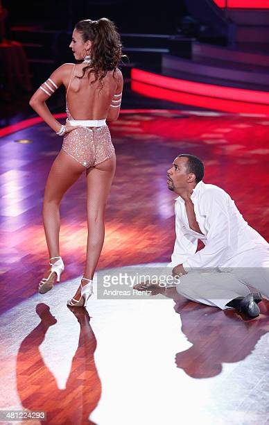 Patrice Bouedibela and Ekaterina Leonova perform on stage during the 1st Show of 'Let's Dance' on RTL at Coloneum on March 28 2014 in Cologne Germany