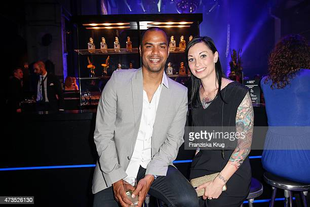Patrice Bouedibela and Lina van de Mars attend the Maybelline 100th anniversary celebrations on May 15, 2015 in Berlin, Germany.