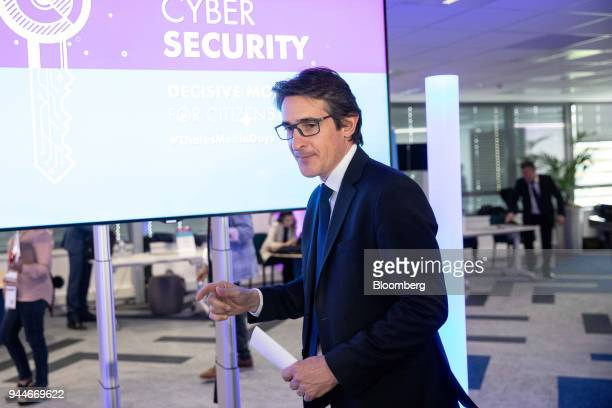 Patrice Caine chief executive officer of Thales SA departs after speaking during a cyber security event in Paris France Wednesday April 11 2018...