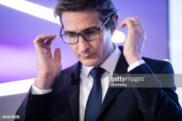 Patrice Caine chief executive officer of Thales SA pauses while speaking during a cyber security event in Paris France Wednesday April 11 2018...