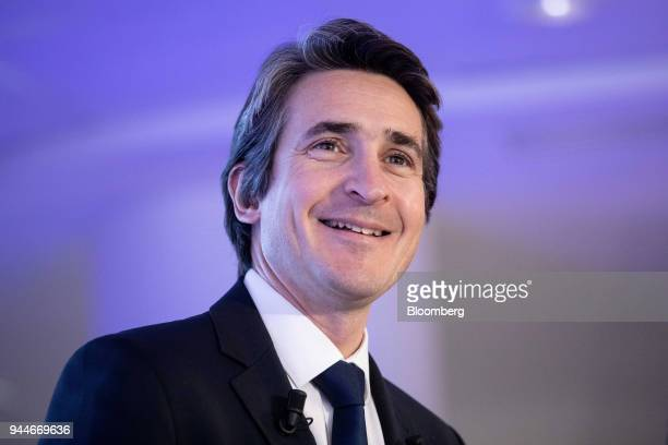 Patrice Caine chief executive officer of Thales SA reacts as he addresses a cyber security event in Paris France Wednesday April 11 2018 Frances...