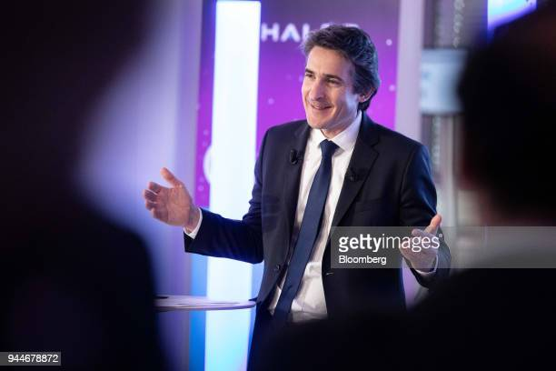Patrice Caine chief executive officer of Thales SA reacts whilst speaking during a cyber security event in Paris France Wednesday April 11 2018...