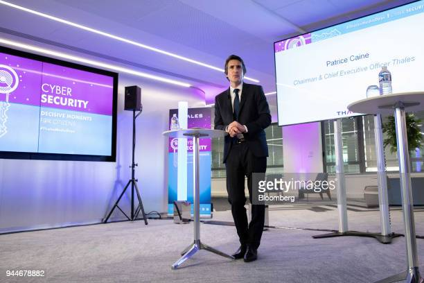 Patrice Caine chief executive officer of Thales SA speaks during a cyber security event in Paris France Wednesday April 11 2018 Frances Eutelsat...