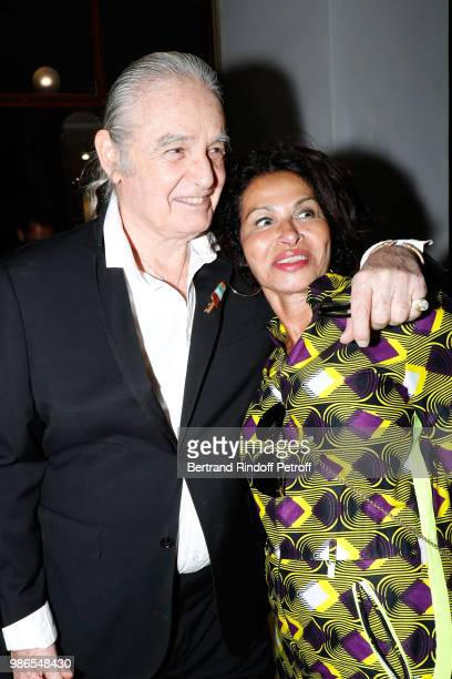 Patrice Calmettes and Djemila Khelfa attend the Tan Giudicelli Exhibition of drawings and accessories preview at Galerie Pierre Passebon on June 28...