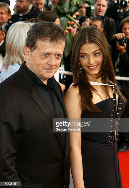 Patrice Chereau president and Aishwarya Rai during 2003 Cannes Film Festival The Matrix Reloaded Premiere at Palais des Festivals in Cannes France