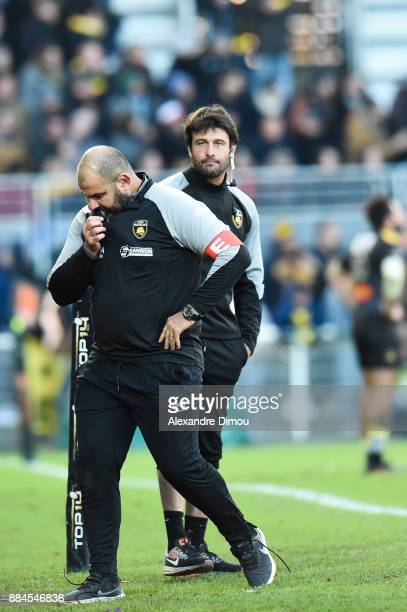Patrice Collazo and Xavier Garbajosa Coachs of La Rochelle during the Top 14 match between La Rochelle and Montpellier on December 2 2017 in La...