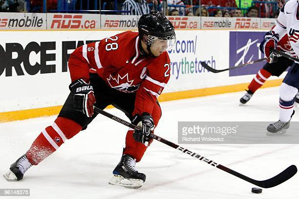 Patrice Cormier of Team Canada stick handles the puck during the 2010 IIHF World Junior Championship Tournament Gold Medal game against Team USA on...