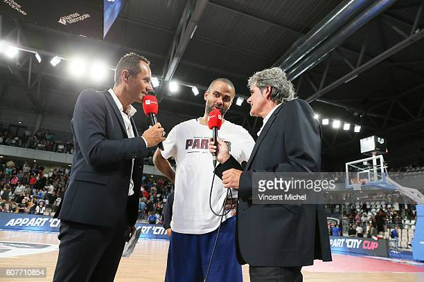 Patrice Dumont Tony Parker and Claude Bergeaud during the Appart City Cup match between Nantes and Nanterre at Salle Metropolitaine on September 18...