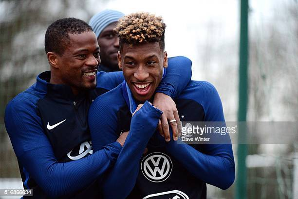 Patrice Evra and Kingsley Coman of France during training on the first day of their training ahead of the friendly football match against Netherlands...