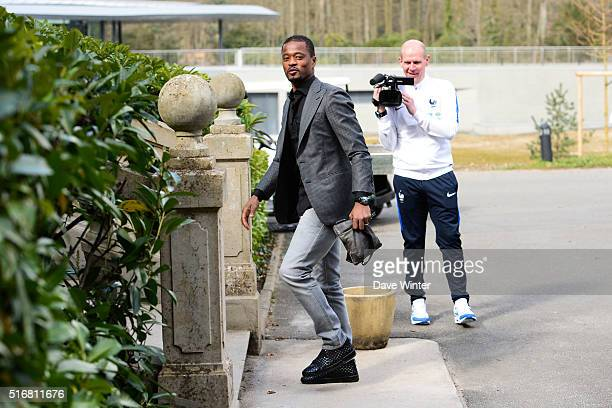Patrice Evra arrives at the French National Football Team training on the first day of their training ahead of the friendly match against Netherlands...