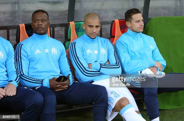 Patrice Evra Doria Florian Thauvin of OM during the UEFA Europa League third qualifying round second leg match between KV Oostende and Olympique de...