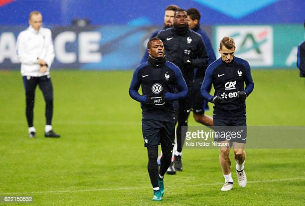 Patrice Evra of France during a training session ahead of the FIFA 2018 World Cup Qualifier between France and Sweden at Stade de France on November...