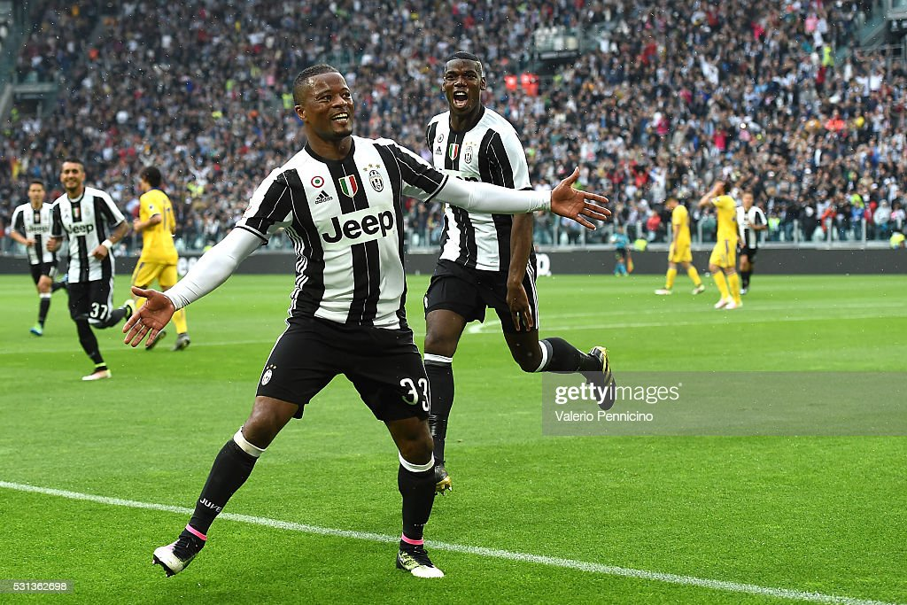Patrice Evra (L) of Juventus FC celebrates after scoring the opening goal during the Serie A match between Juventus FC and UC Sampdoria at Juventus Arena on May 14, 2016 in Turin, Italy.