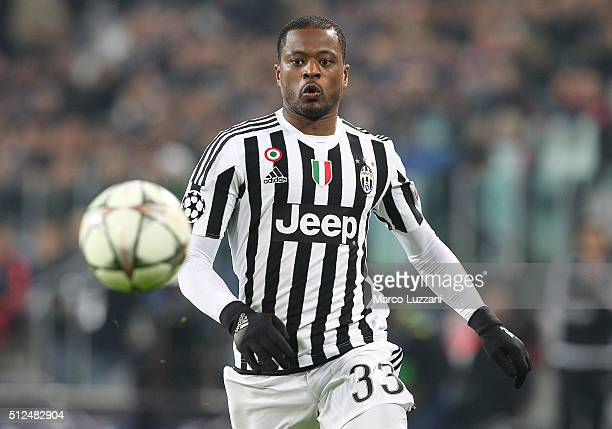 Patrice Evra of Juventus FC in action during the UEFA Champions League Round of 16 first leg match between Juventus and FC Bayern Muenchen at...