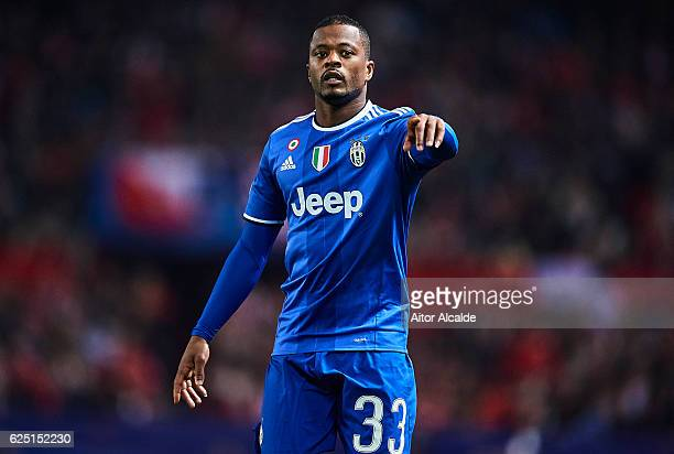 Patrice Evra of Juventus looks on during the UEFA Champions League match between Sevilla FC and Juventus at Estadio Ramon Sanchez Pizjuan on November...