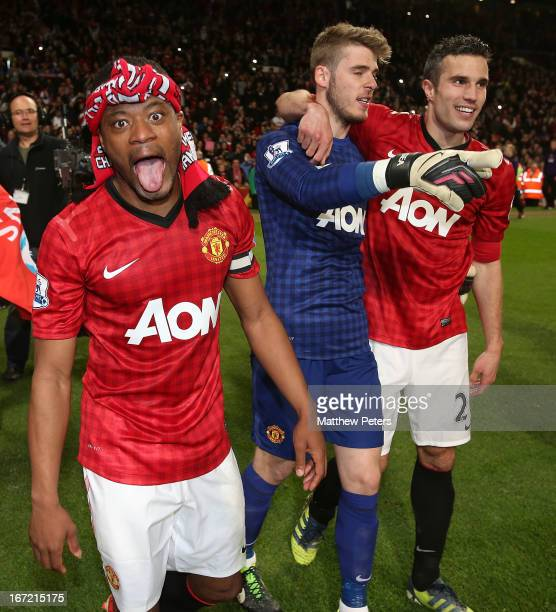 Patrice Evra of Manchester United celebrate after the Barclays Premier League match between Manchester United and Aston Villa at Old Trafford on...