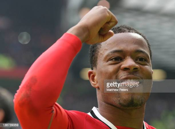 Patrice Evra of Manchester United celebrates after the Barclays Premier League match between Manchester United and Liverpool at Old Trafford on...