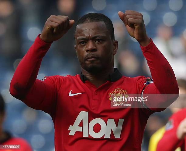 Patrice Evra of Manchester United celebrates after the Barclays Premier League match between West Bromwich Albion and Manchester United at The...