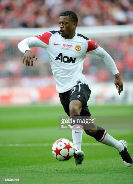 Patrice Evra of Manchester United during the UEFA Champions League final between FC Barcelona and Manchester United FC at Wembley Stadium on May 28...