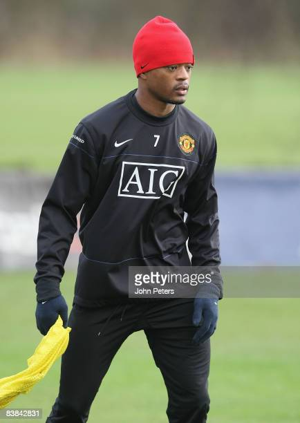 Patrice Evra of Manchester United in action during a First Team Training Session at Carrington Training Ground on November 27 2008 in Manchester...