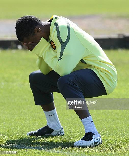 Patrice Evra of Manchester United in action during a first team training session ahead of their UEFA Champions League SemiFinal second leg match...