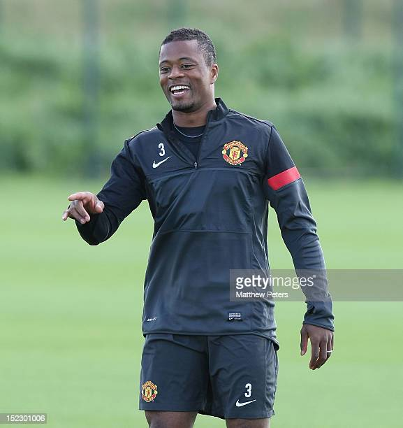 Patrice Evra of Manchester United in action during a first team training session ahead of their UEFA Champions League match against Galatasaray at...