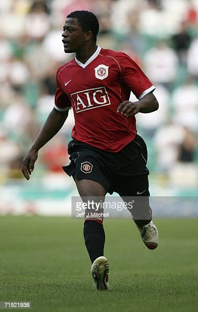 Patrice Evra of Manchester United in action during a friendly match between Celtic and Manchester United at Celtic Park July 26 2006 in...