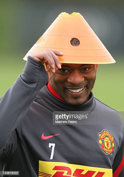 Patrice Evra of Manchester United in action during a training session at Carrington Training Ground on May 4 2012 in Manchester England