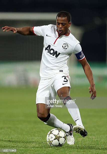 Patrice Evra of Manchester United in action during the UEFA Champions League Group H match between CFR 1907 Cluj and Manchester United at the...