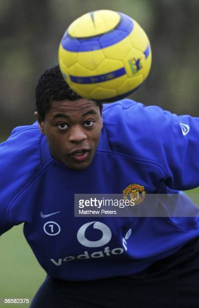 Patrice Evra of Manchester United in action on the ball during a first team training session at Carrington Training Ground on January 13 2006 in...