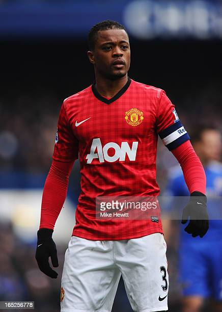 Patrice Evra of Manchester United looks on during the FA Cup with Budweiser Sixth Round Replay match between Chelsea and Manchester United at...