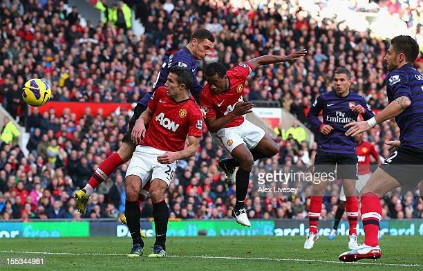 Patrice Evra of Manchester United scores his team's second goal during the Barclays Premier League match between Manchester United and Arsenal at Old...