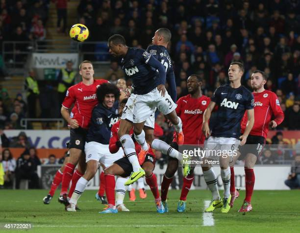 Patrice Evra of Manchester United scores their second goal during the Barclays Premier League match between Cardiff City and Manchester United at...