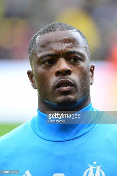 Patrice Evra of Marseille during the Ligue 1 match between FC Nantes and Olympique Marseille at Stade de la Beaujoire on August 12 2017 in Nantes