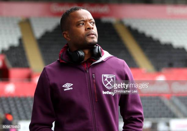Patrice Evra of West Ham United arrives prior to the Premier League match between Swansea City and West Ham United at Liberty Stadium on March 3 2018...